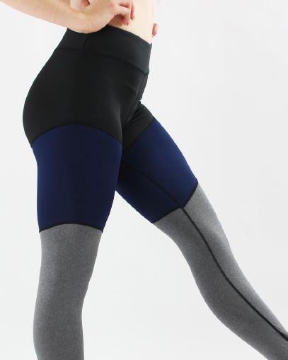navy grey colour block leggings